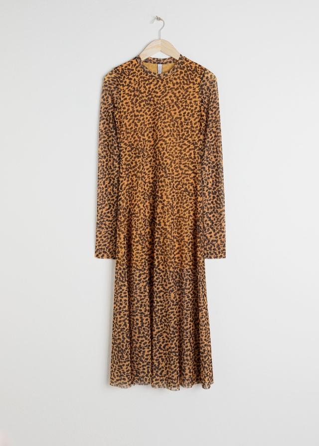 3553691f8 Sheer Leopard Midi Dress   Endource