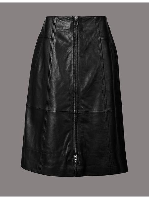 6d0ac4d659 Leather A-Line Midi Skirt | Endource