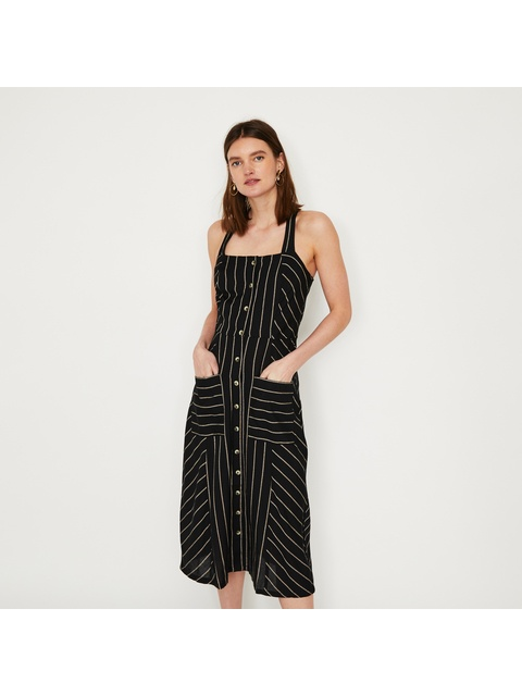 40b1842975a Linen Stripe Button Midi Dress