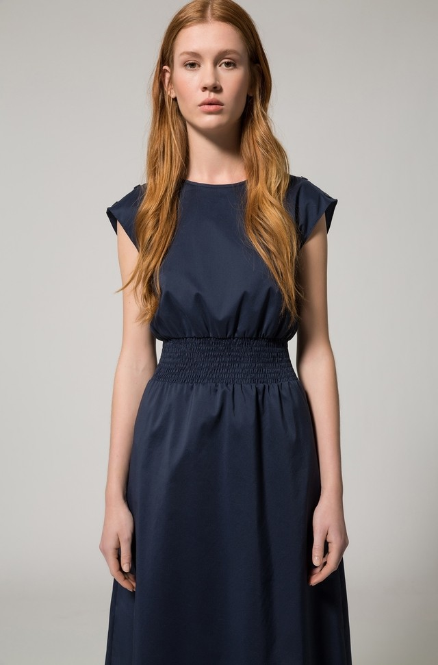 Cotton-blend sleeveless dress with smocking detail HUGO BOSS