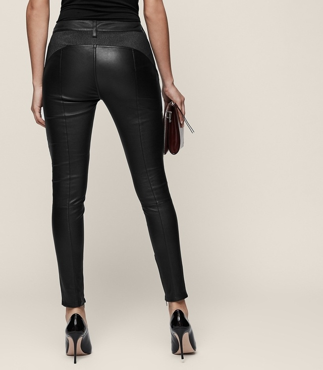 Haden - Skinny Leather Trousers in Black, Womens, Size 10 Reiss