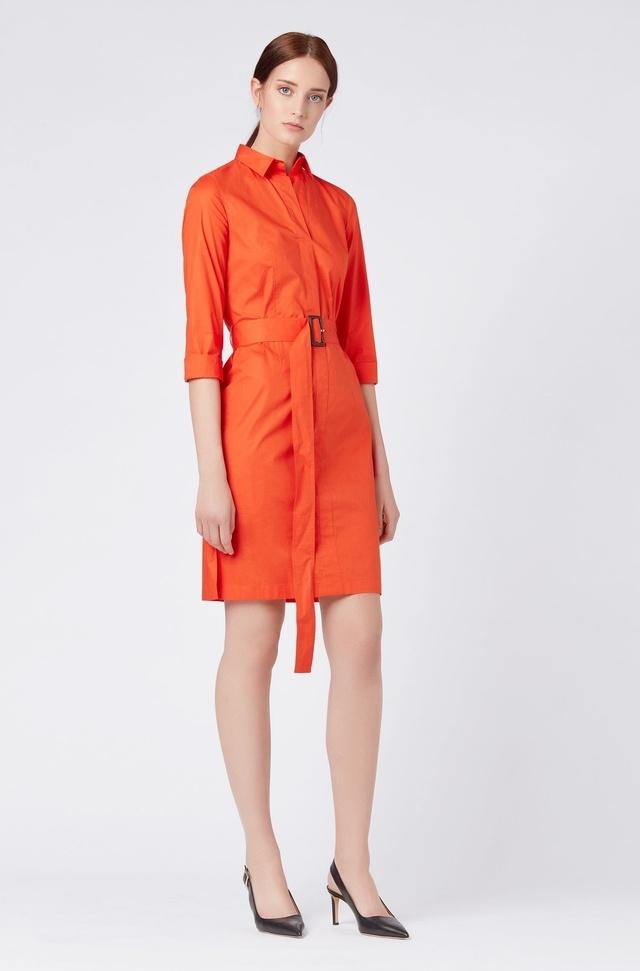 1639f4a37 Stretch Cotton Belted Shirt Dress | Endource