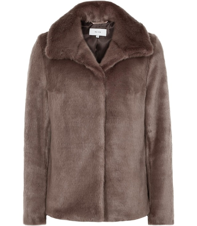 aeven faux fur collar wrap coat parchment