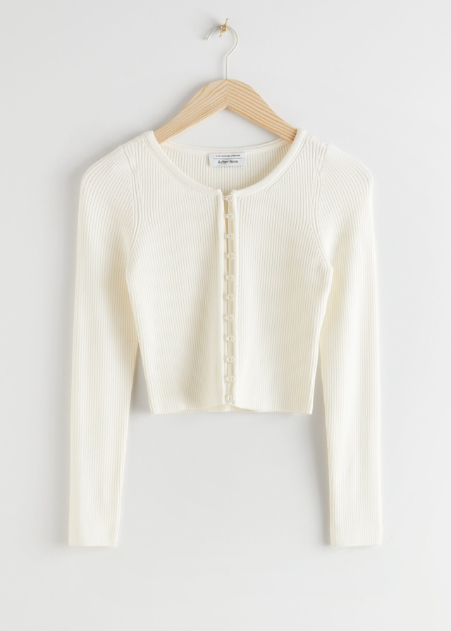 Ribbed Cropped Cardigan Top