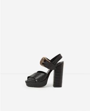 The Kooples Wood Heel Leather Sandal ceWs5