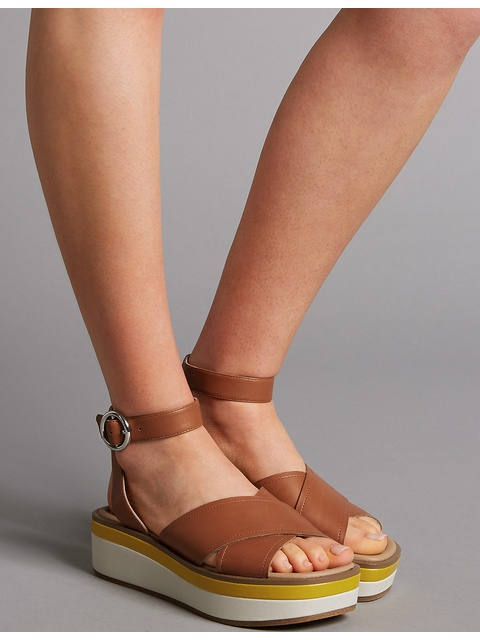 910c4a70f28 Leather Cross Strap Flatform Sandals
