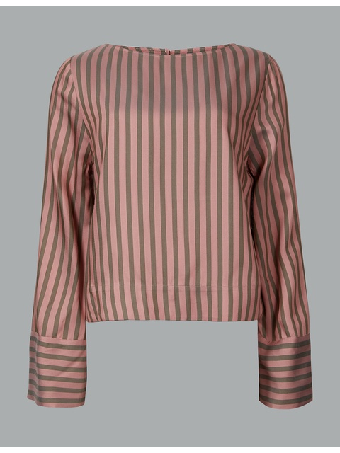 b1a9cbbe11b000 Striped Round Neck Long Sleeve Blouse   Endource