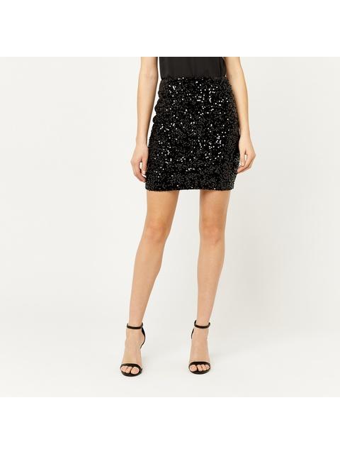 6c1f07916c9cd4 Velvet Sequin Mini Skirt | Endource