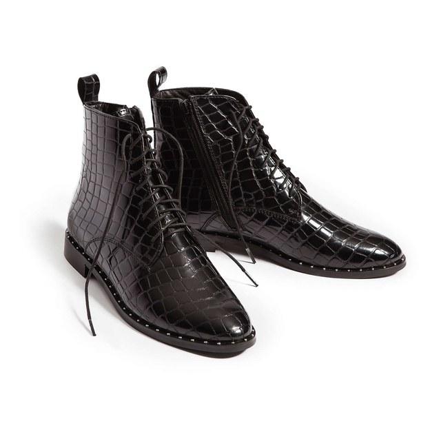 99bc68efe25 Tilda Croc Print Lace Up Boots
