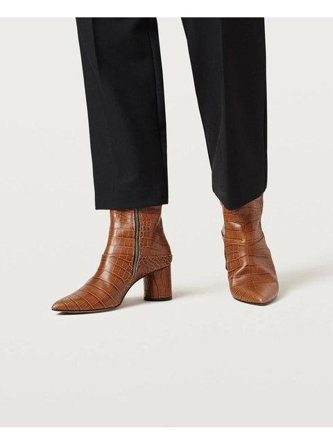 dab7847e3eee Emilia Leather Croc-Effect Ankle Boot
