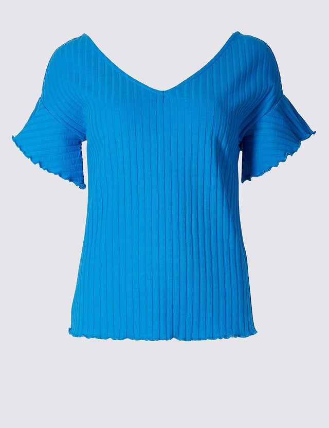 Ribbed frill sleeve t shirt endource for Frill sleeve t shirt