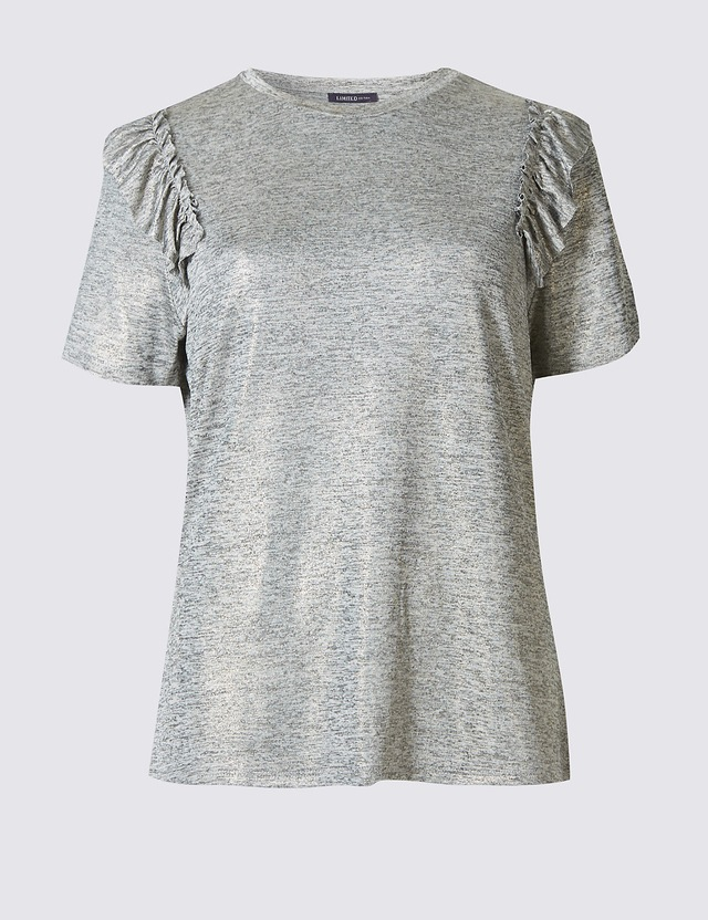 Shoulder frill short sleeve t shirt endource for Frill sleeve t shirt