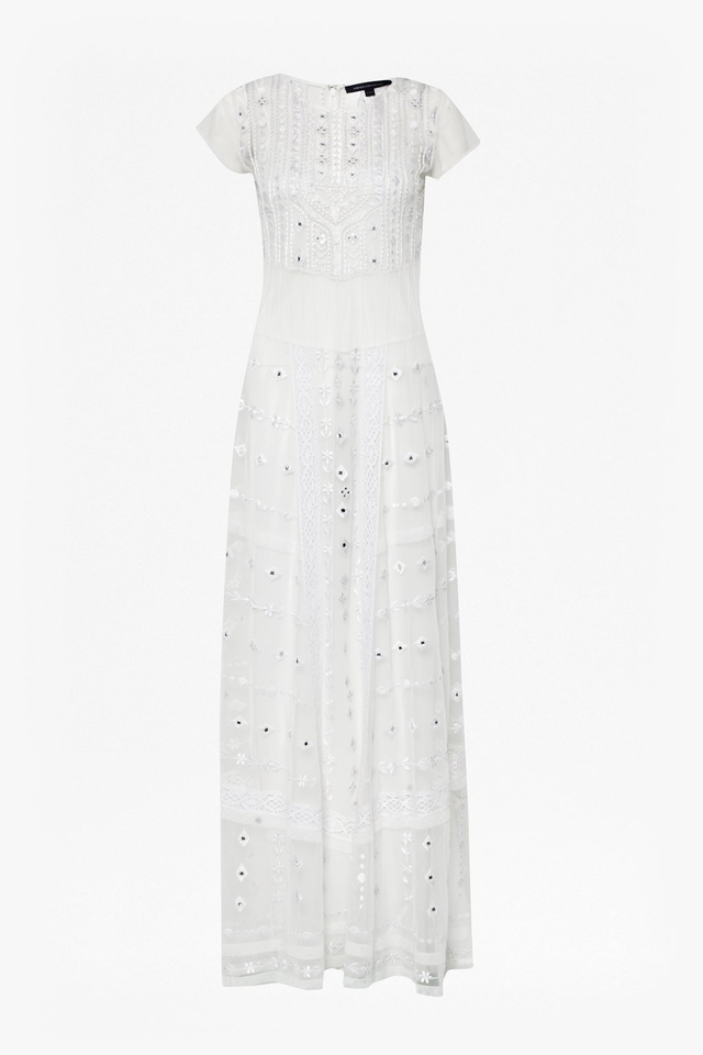 Fynne Embroidered Maxi Dress- white-cl