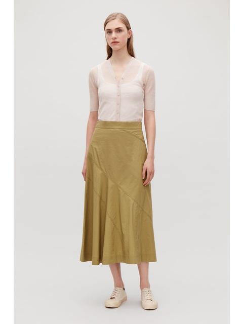 b52cb808f90 Slit-Front Panelled Skirt