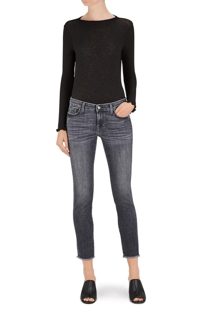 Pyper Crop high-waisted raw-hem jeans 7 For All Mankind ZaLPFqE2eU
