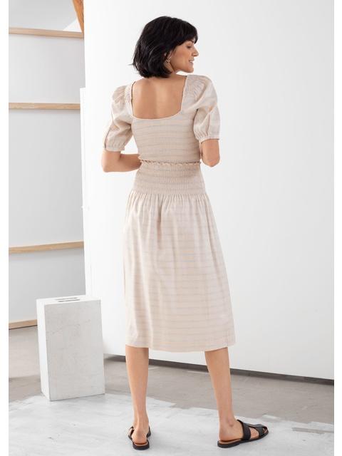 d18a3e4804 Stripe Smocked Midi Skirt | Endource