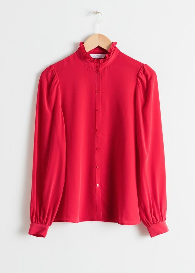 ce6670f0d1fb84 Ruffle Collar Silk Shirt | Endource