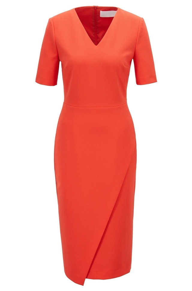 7831021c28 V-Neck Shift Dress with Asymmetric Wrap Skirt