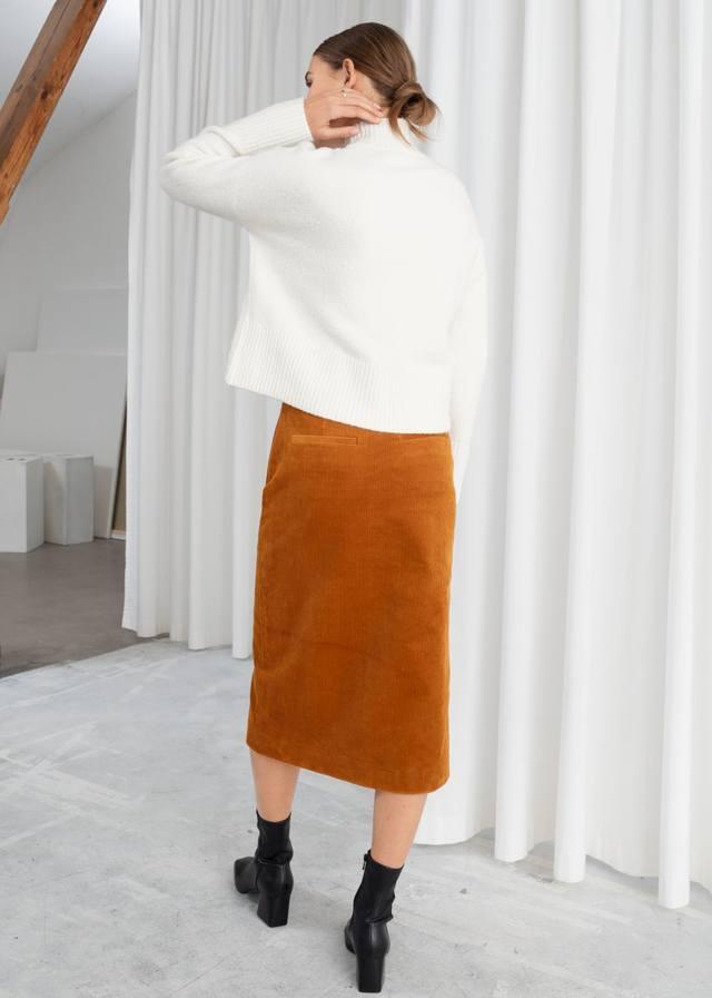 fa96766ac Front Slit Corduroy Midi Skirt | Endource