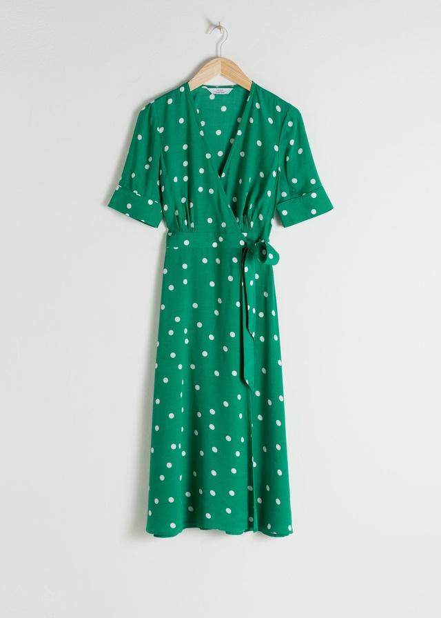 eda16e11ee3 Polka Dot Midi Wrap Dress