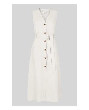 c429db6813 Linen Button Detail Dress