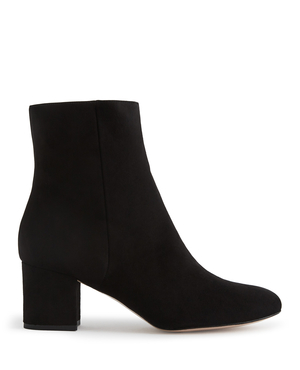 Reiss Delphine - Suede Block Heeled Ankle Boots in Black, Womens