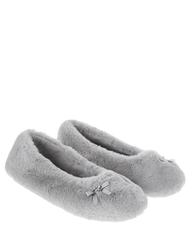 Monsoon Faith Faux Fur Ballerina Slippers