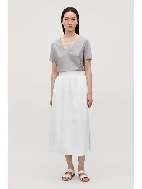 2138ea2394e Wide-Elastic Cotton Skirt