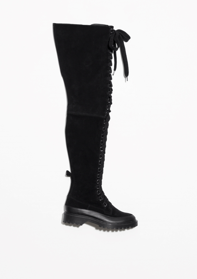 bc3443f6c9a Suede Lace-Up Over Knee Boots