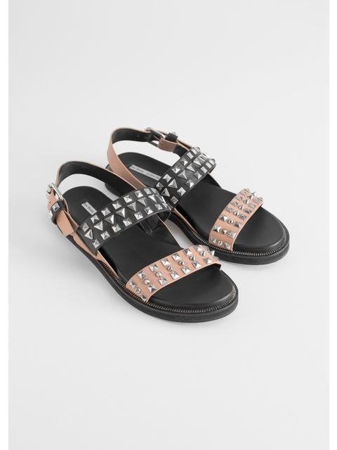 2577c2ac0de4 Two Toned Studded Sandals