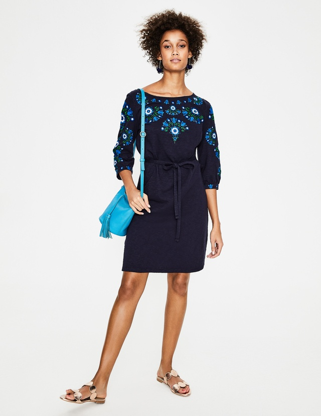 Leyla embroidered jersey dress endource for Boden jersey dress