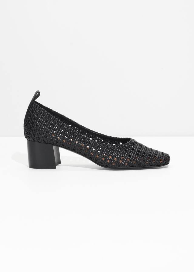 & OTHER STORIES Square Toe Woven Heels VFYigvy11