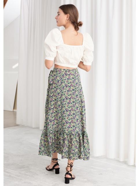 9e2884809f0bec Floral Ruffled Midi Wrap Skirt