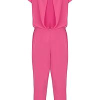 ffb96f421d1 Cerise Cowl-Neck Silk Jumpsuit