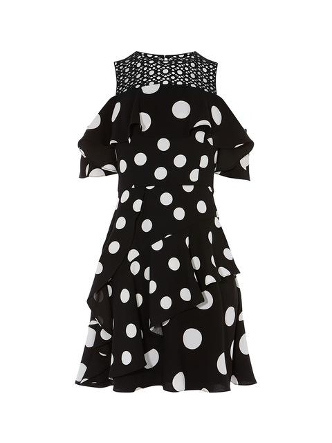 2973f1d6f Polka-Dot Cold Shoulder Dress