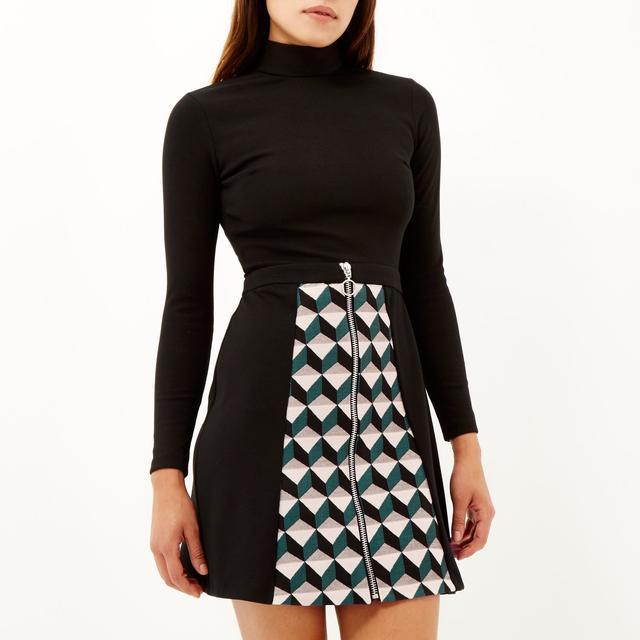 Black pattern skirt zip front A-line dress | Endource