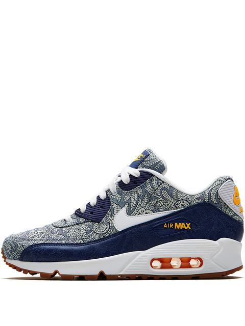 uk availability 8f804 1b3d9 DARK BLUE CROWN LIBERTY PRINT AIR MAX 90 TRAINERS | Endource