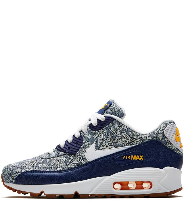 new concept 3409d b9bbb DARK BLUE CROWN LIBERTY PRINT AIR MAX 90 TRAINERS   Endource