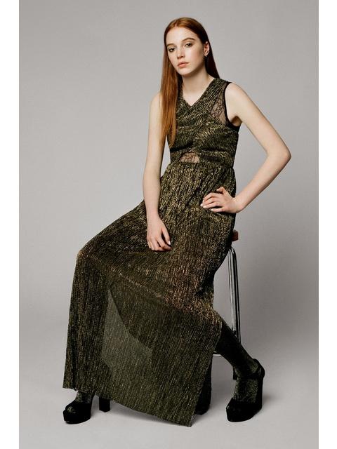 d98f41f59b Plisse Foil Maxi Dress