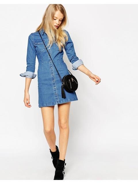 e711deaca19 Denim Western A-Line Shirt Dress