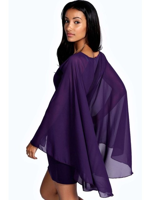 1d7788457162 Amie Chiffon Cape Sleeve Bodycon Dress | Endource