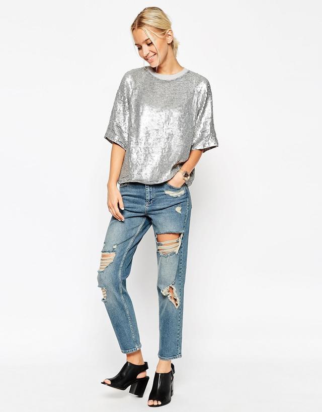 0b1dfab57a17 Glitter Sequin Silver Sweat T - Shirt | Endource