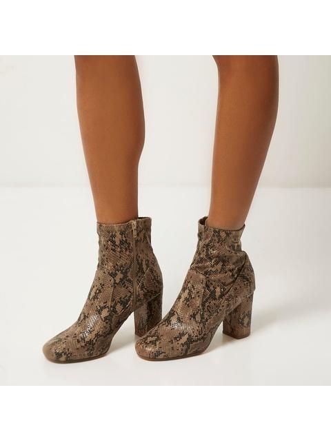 229a48f22e25 Snake Print Heeled Ankle Boots | Endource