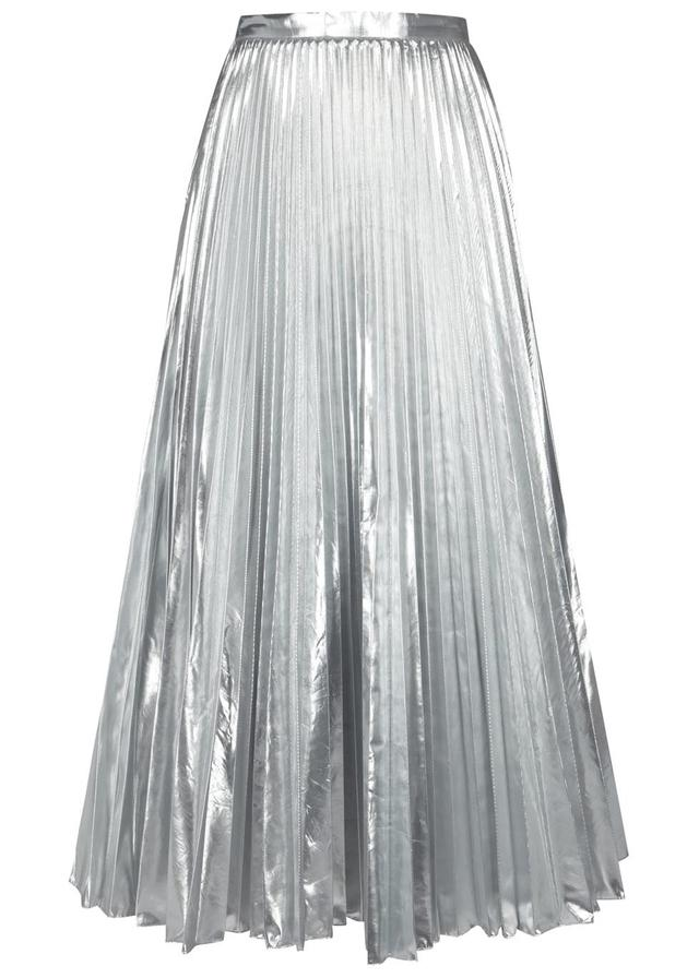 double coupon the best great fit Pleated Lamé Midi Skirt
