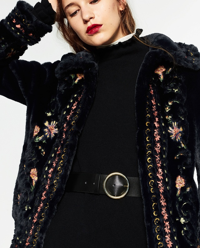 Embroidered Faux Fur Coat | Endource
