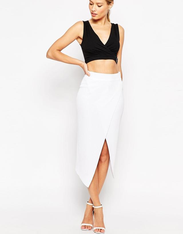 Rib Wrap Midi Pencil Skirt | Endource
