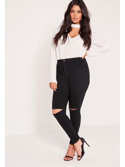 5c6fc72597b Plus Size High-waisted Ripped Skinny Jeans