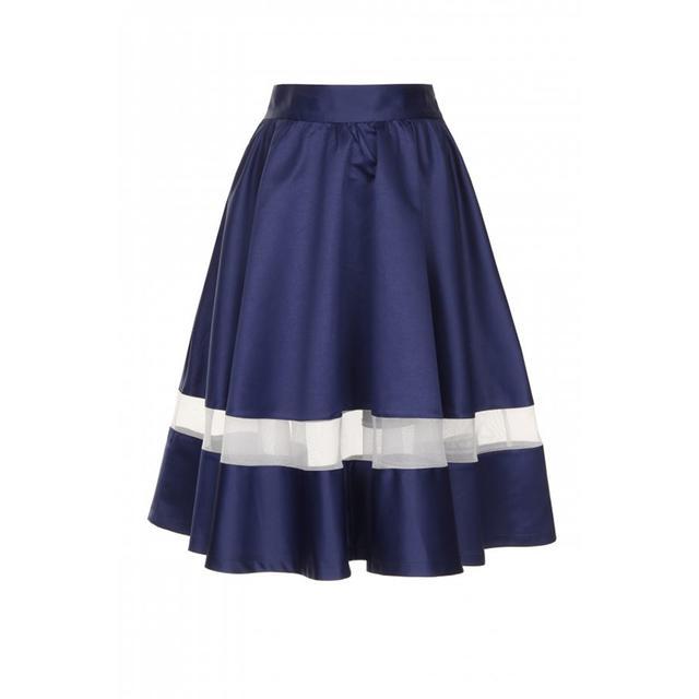 Navy Satin Sheer Insert Volume Midi Skirt | Endource