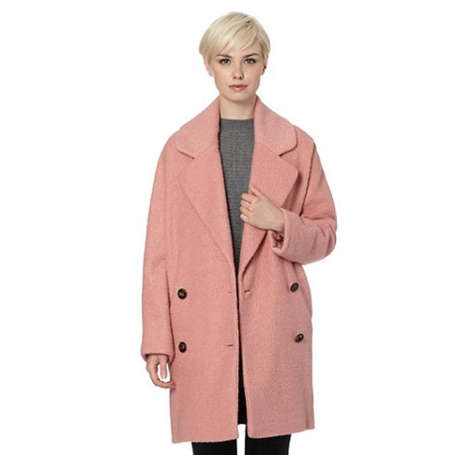 Designer light pink oversized wool blend coat | Endource