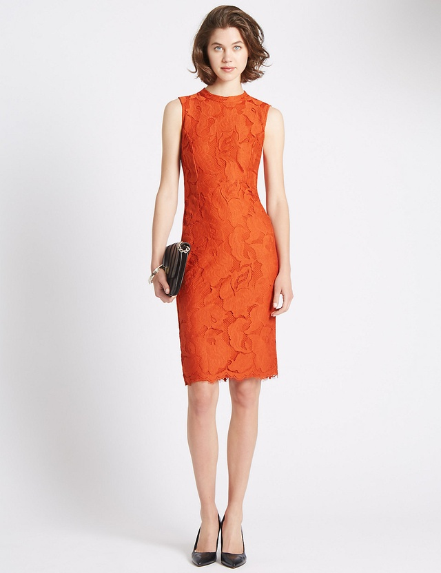 Marks and spencer red lace dress grazia